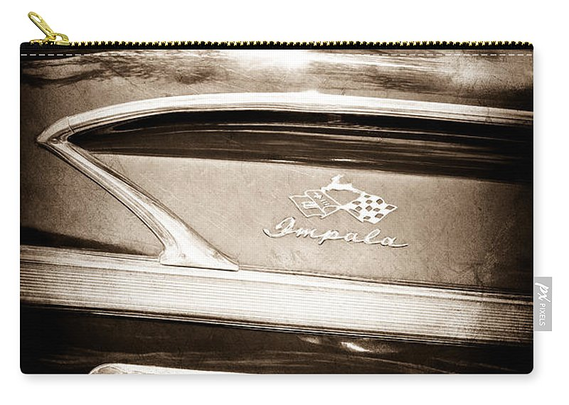 1958 Chevrolet Impala Side Emblem Carry-all Pouch featuring the photograph 1958 Chevrolet Impala Side Emblem by Jill Reger