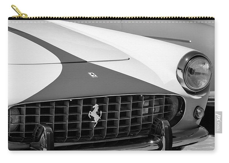 1959 Ferrari 250 Gt Coupe Grille Emblems Carry-all Pouch featuring the photograph 1959 Ferrari 250 Gt Coupe Grille Emblems by Jill Reger