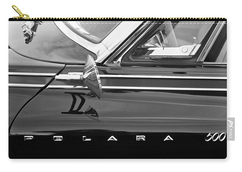1962 Dodge Polara 500 Side Emblem Carry-all Pouch featuring the photograph 1962 Dodge Polara 500 Side Emblem by Jill Reger