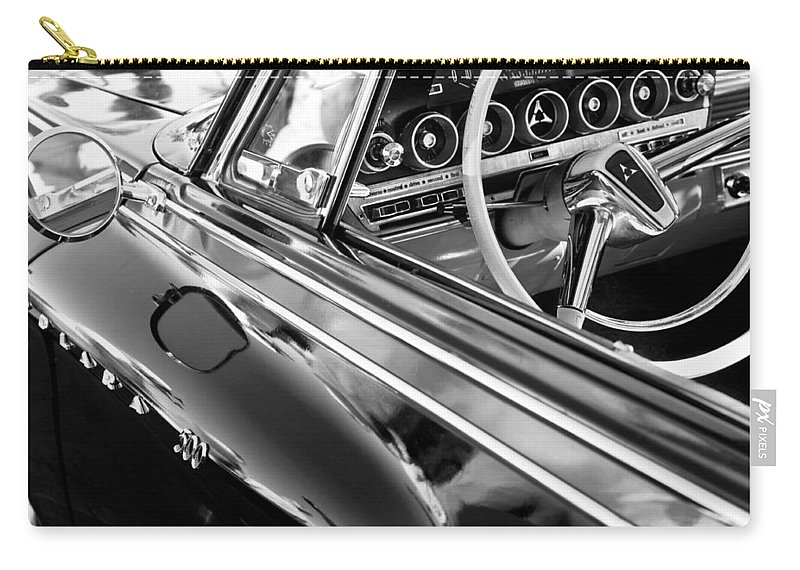 1962 Dodge Polara 500 Side Emblem - Steering Wheel Carry-all Pouch featuring the photograph 1962 Dodge Polara 500 Side Emblem - Steering Wheel by Jill Reger