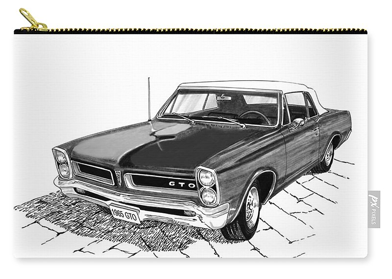 1965 Pontiac Gto Carry-all Pouch featuring the painting 1965 Pontiac G T O Convertible by Jack Pumphrey