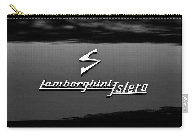 1969 Lamborghini Islero Emblem Carry-all Pouch featuring the photograph 1969 Lamborghini Islero Emblem by Jill Reger