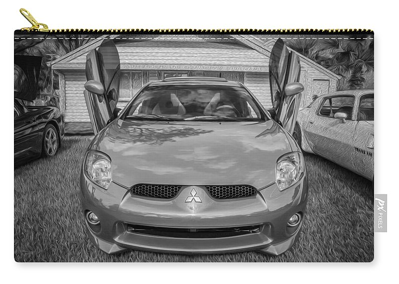 Mitsubishi Carry-all Pouch featuring the photograph 2006 Mitsubishi Eclipse Gt V6 Painted Bw by Rich Franco