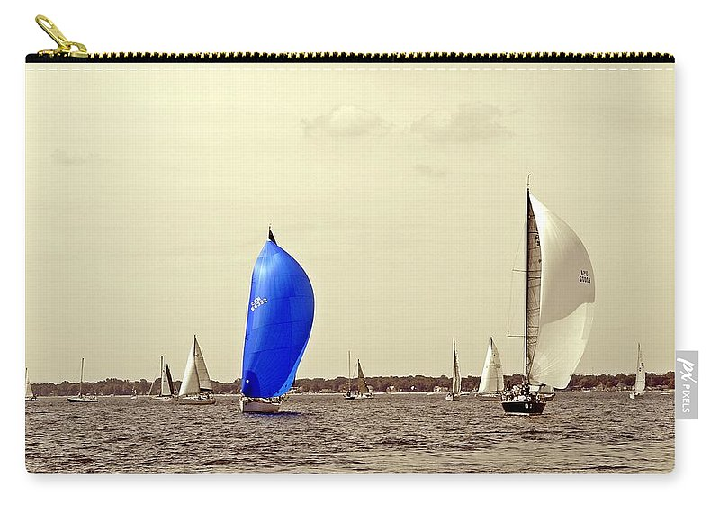 2014 Bells Beer Bayview Mackinac Sailboat Race Carry-all Pouch featuring the photograph To Life by Randy J Heath