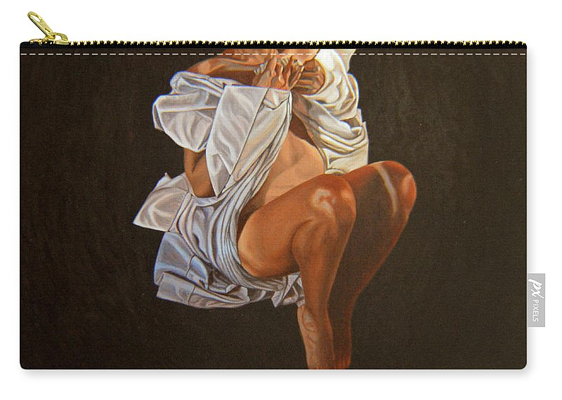 Semi-nude Carry-all Pouch featuring the painting 1 30 Am by Thu Nguyen