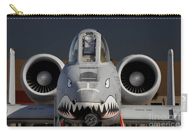 Aircraft Carry-all Pouch featuring the photograph A-10 Warthog by John Black
