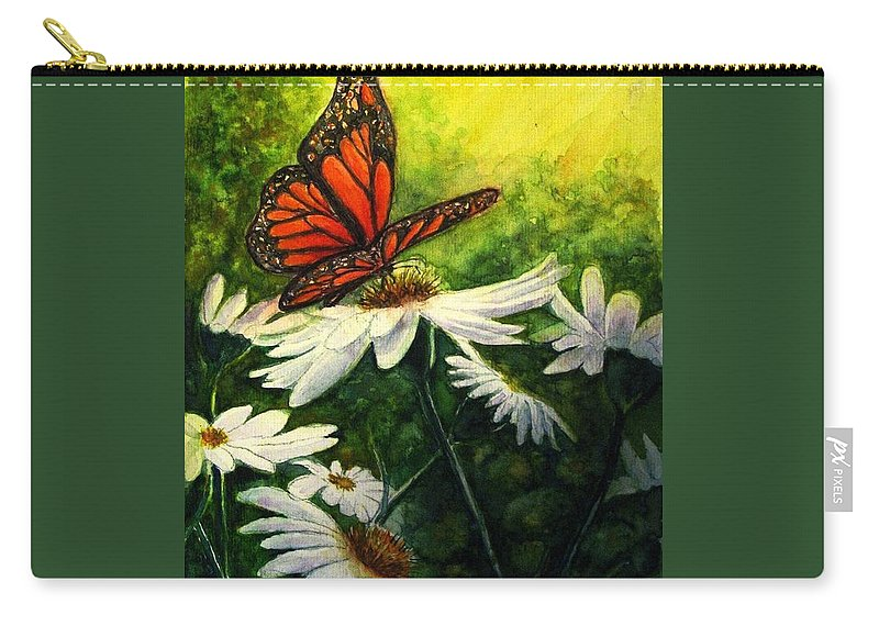 Monarch Butterfly Carry-all Pouch featuring the painting A Life-changing Encounter by Hazel Holland