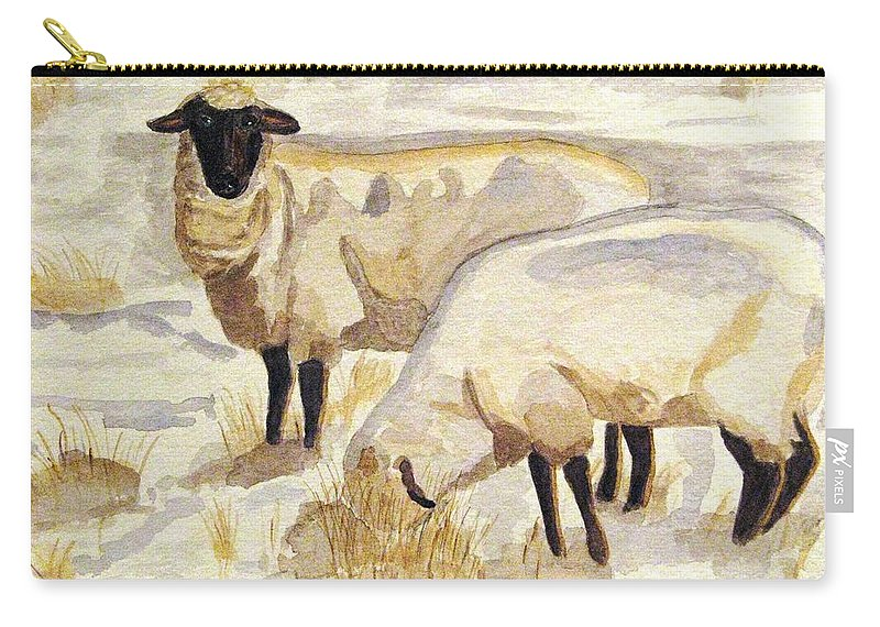 Ewes Carry-all Pouch featuring the painting A Peaceful Winter by Angela Davies