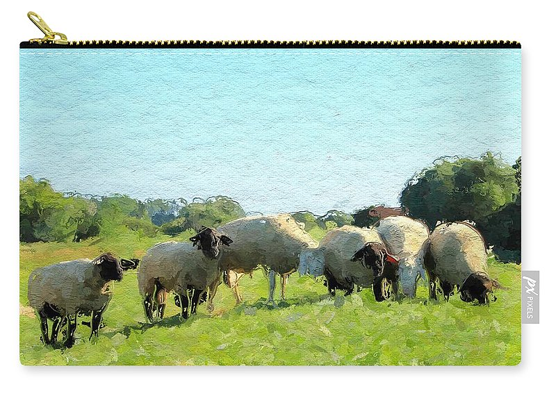 Sheep Animal Summer Green Sun Expressionism Impressionism Painting Landscape Carry-all Pouch featuring the painting A Summerday by Steve K