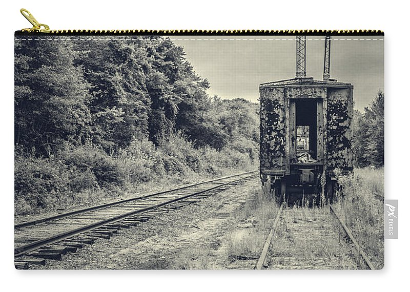 Essex. Train Carry-all Pouch featuring the photograph Abandoned Burnt Out Train Cars by Edward Fielding