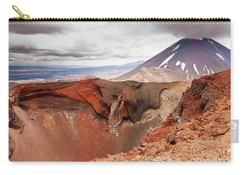 Mount Carry-all Pouch featuring the photograph Active Volcanoe Cone Of Mt Ngauruhoe New Zealand by Stephan Pietzko