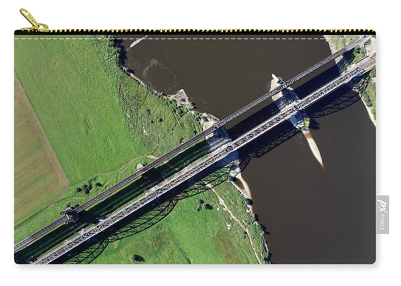 Railroad Track Carry-all Pouch featuring the photograph Aerial Photo Of The Railway Bridge by Dariuszpa