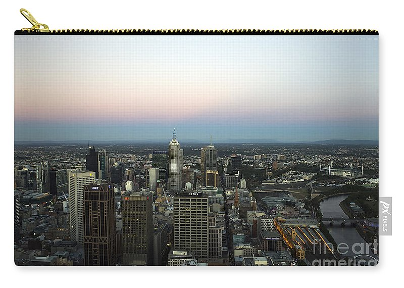 Travel Carry-all Pouch featuring the photograph Aerial View Of Melbourne by Jason O Watson
