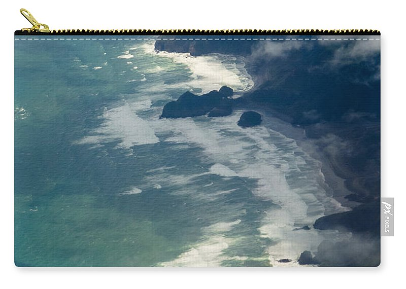 Tasman Sea Carry-all Pouch featuring the photograph Aerial View Of Tasman Sea Shore Nz North Island by Stephan Pietzko