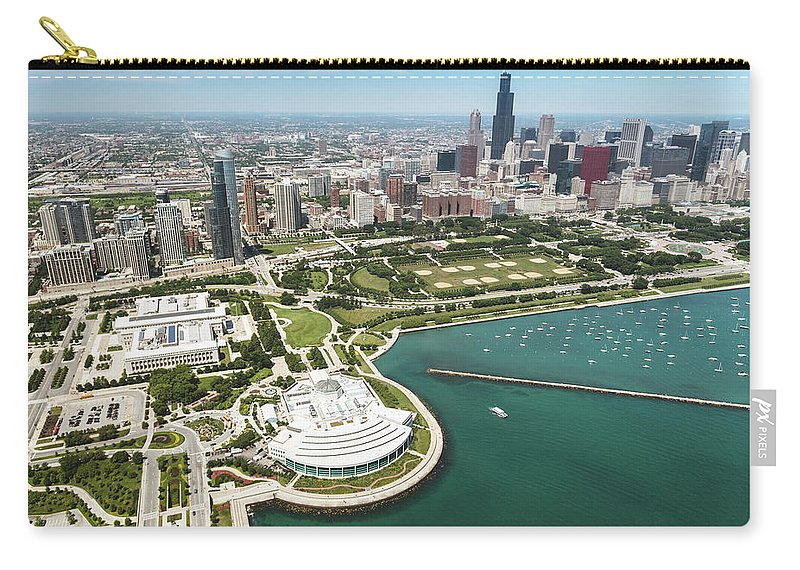 Downtown District Carry-all Pouch featuring the photograph Aerial View Of The Downtown In Chicago by Franckreporter