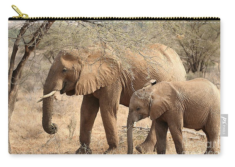 African Elephant Carry-all Pouch featuring the photograph African Elephant Mother And Calf by Liz Leyden