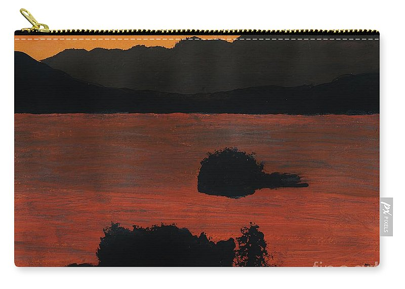 Alaska Carry-all Pouch featuring the drawing Alaska Bay Sunset by D Hackett