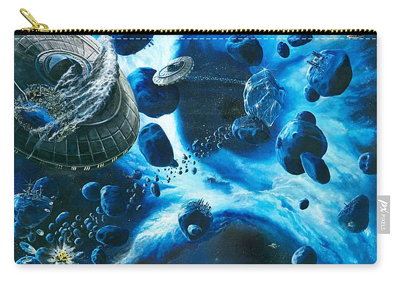Asteroid Carry-all Pouch featuring the painting Alien Pirates by Murphy Elliott