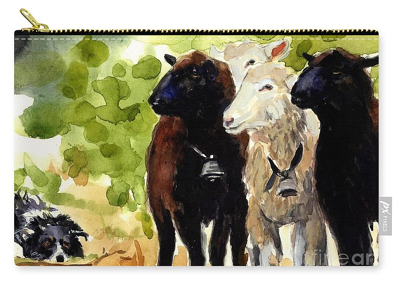 Sheep Carry-all Pouch featuring the painting All Eyes by Molly Poole