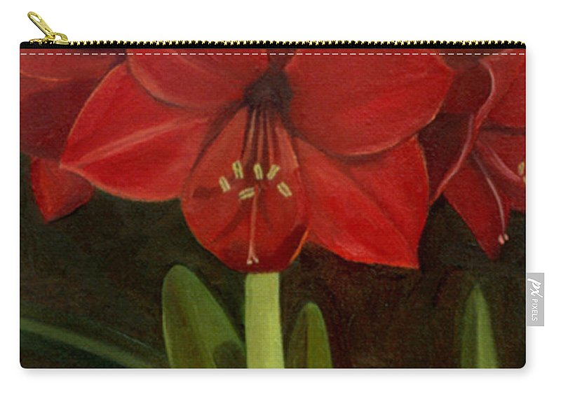 Amaryllis Carry-all Pouch featuring the painting Amaryllis by Nancy Griswold