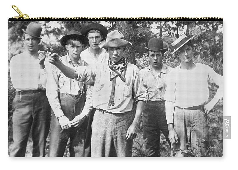 1890 Carry-all Pouch featuring the photograph American Gang, C1900 by Granger