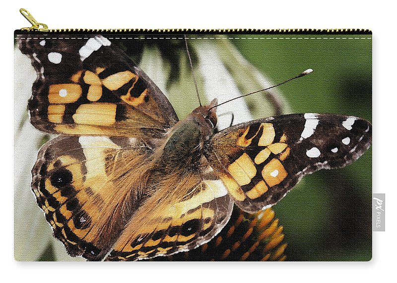 Butterfly Carry-all Pouch featuring the photograph American Lady Butterfly by James C Thomas