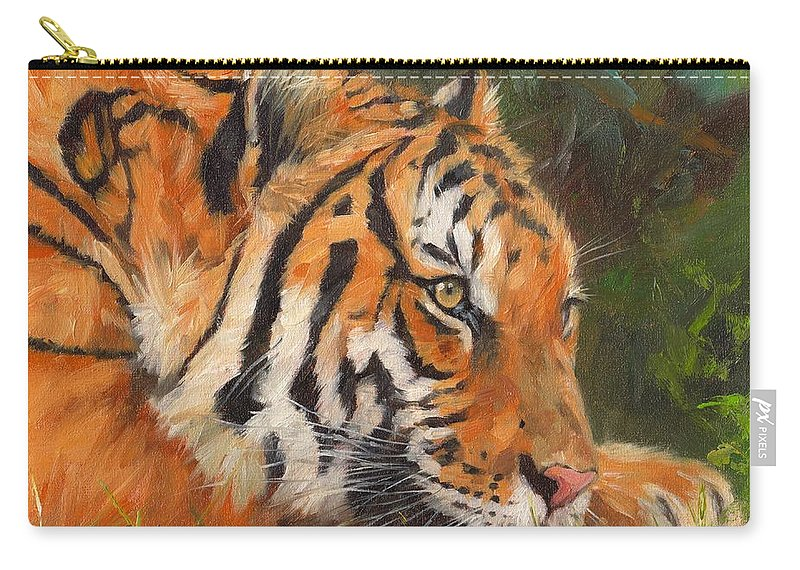 Tiger Carry-all Pouch featuring the painting Amur Tiger 3 by David Stribbling