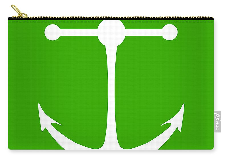 Graphic Art Carry-all Pouch featuring the digital art Anchor In Green And White by Jackie Farnsworth