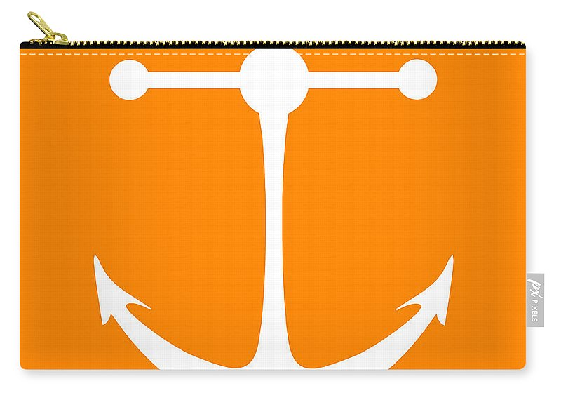 Graphic Art Carry-all Pouch featuring the digital art Anchor In Orange And White by Jackie Farnsworth