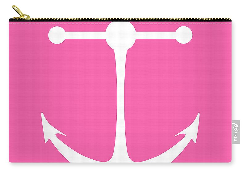 Graphic Art Carry-all Pouch featuring the digital art Anchor In Pink And White by Jackie Farnsworth