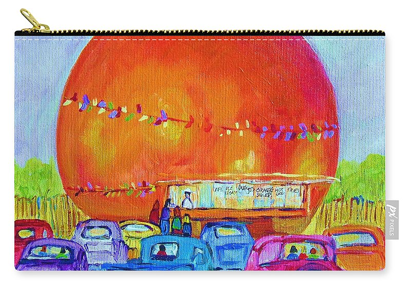 Cars Carry-all Pouch featuring the painting Antique Cars At The Julep by Carole Spandau