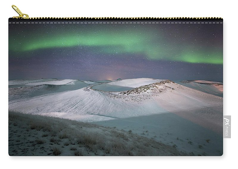 Scenics Carry-all Pouch featuring the photograph Aurora, Myvatn, Iceland by David Clapp