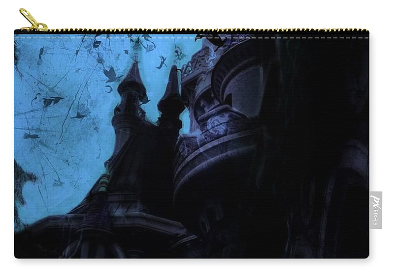 Sleeping Beauty Castle Carry-all Pouch featuring the digital art Aurora's Nightmare II by Marina McLain