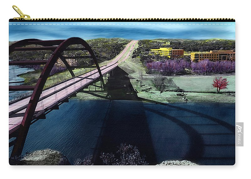 Austin Carry-all Pouch featuring the photograph Austin 360 Bridge by Marilyn Hunt
