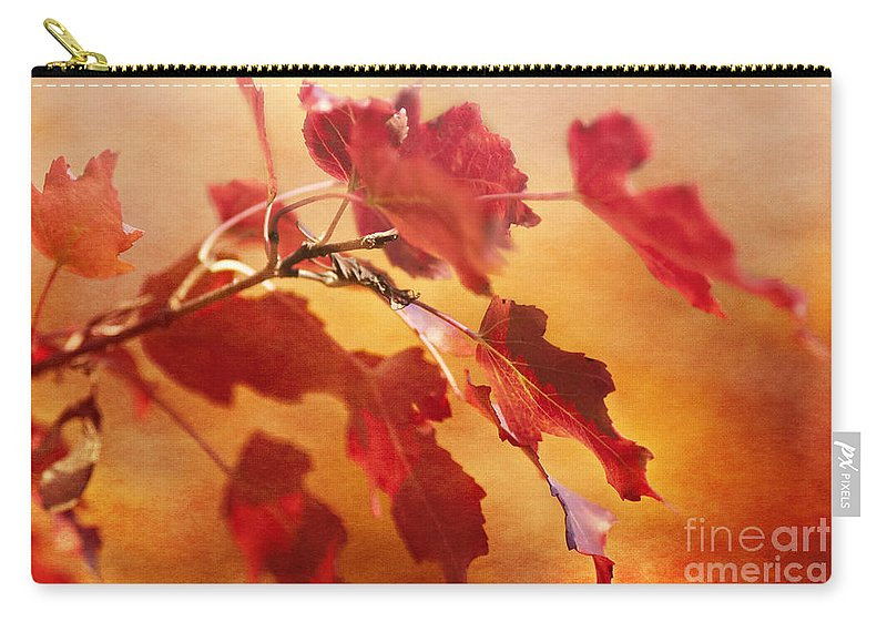 Leaves Carry-all Pouch featuring the photograph Red Blaze by Pam Holdsworth