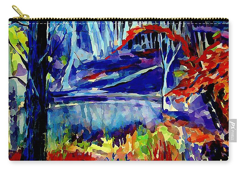 Landscape Carry-all Pouch featuring the painting Autumn Glow by Mindy Newman