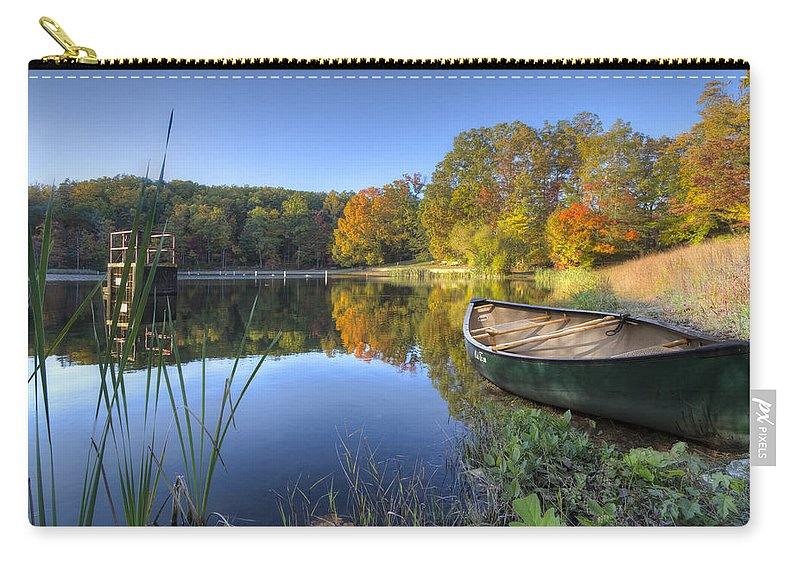 Appalachia Carry-all Pouch featuring the photograph Autumn Lake by Debra and Dave Vanderlaan