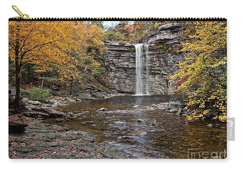 Fall Carry-all Pouch featuring the photograph Awosting Falls by Claudia Kuhn