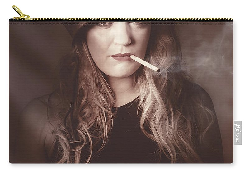 Pinup Carry-all Pouch featuring the photograph Beautiful Blond Army Pinup Girl Smoking Cigarette by Jorgo Photography - Wall Art Gallery