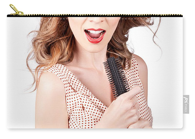Animated Carry-all Pouch featuring the photograph Beautiful Woman Singing Into A Hair Styling Brush by Jorgo Photography - Wall Art Gallery