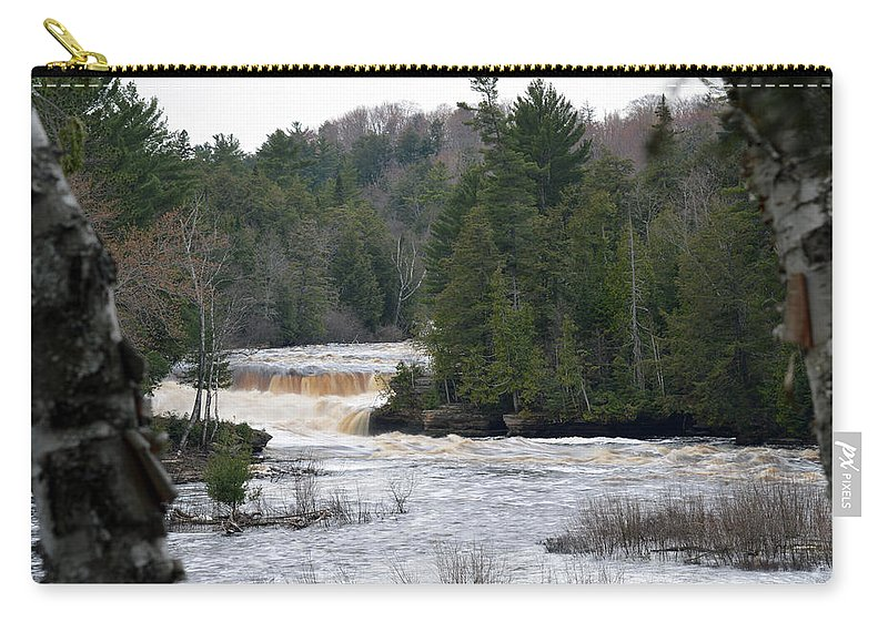 Tahquamenon Falls Carry-all Pouch featuring the photograph Between The Trees by Linda Kerkau