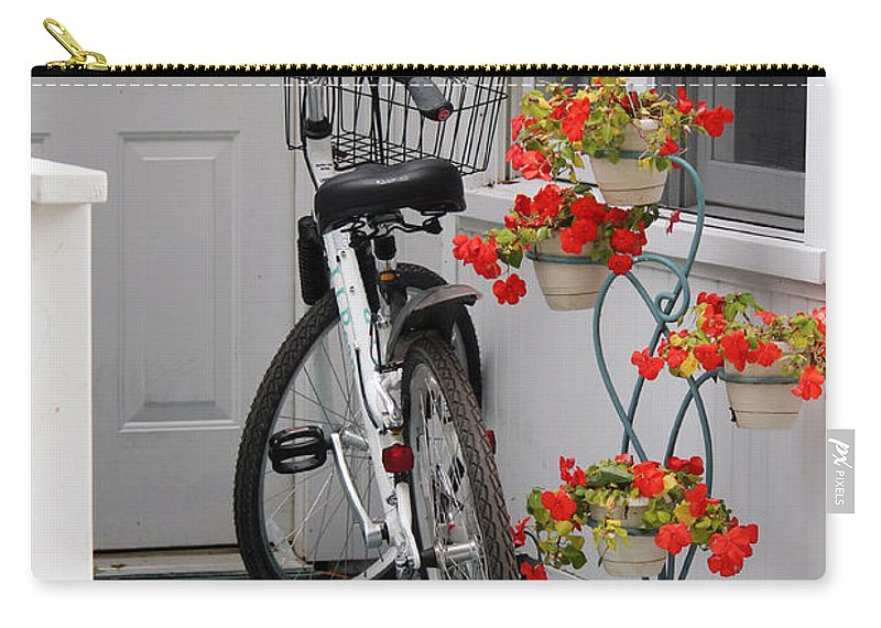 Bicycle Carry-all Pouch featuring the photograph Bicycles And Geraniums by Jackson Pearson