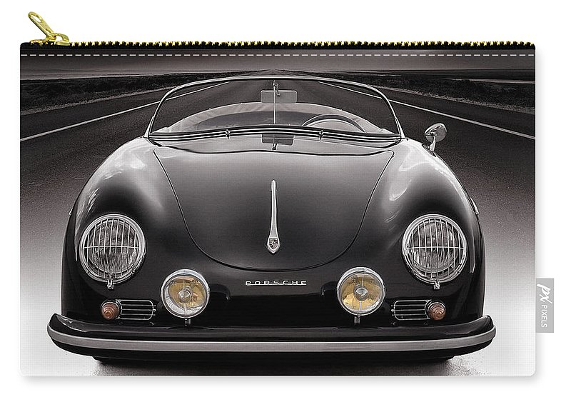 Porsche Carry-all Pouch featuring the photograph Black Porsche Speedster by Douglas Pittman