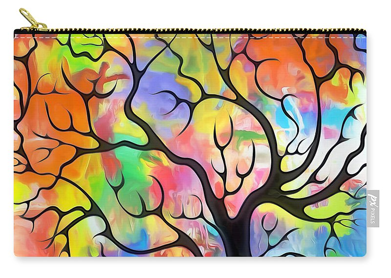 Black Carry-all Pouch featuring the painting Black Tree by Munir Alawi