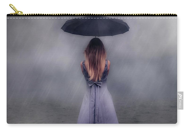 Girl Carry-all Pouch featuring the photograph Black Umbrella by Joana Kruse