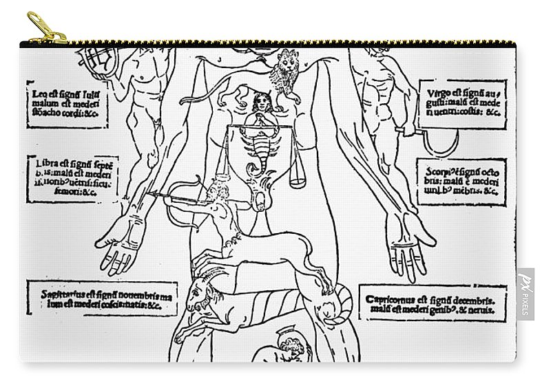 1493 Carry-all Pouch featuring the photograph Bloodletting Chart, 1493 by Granger