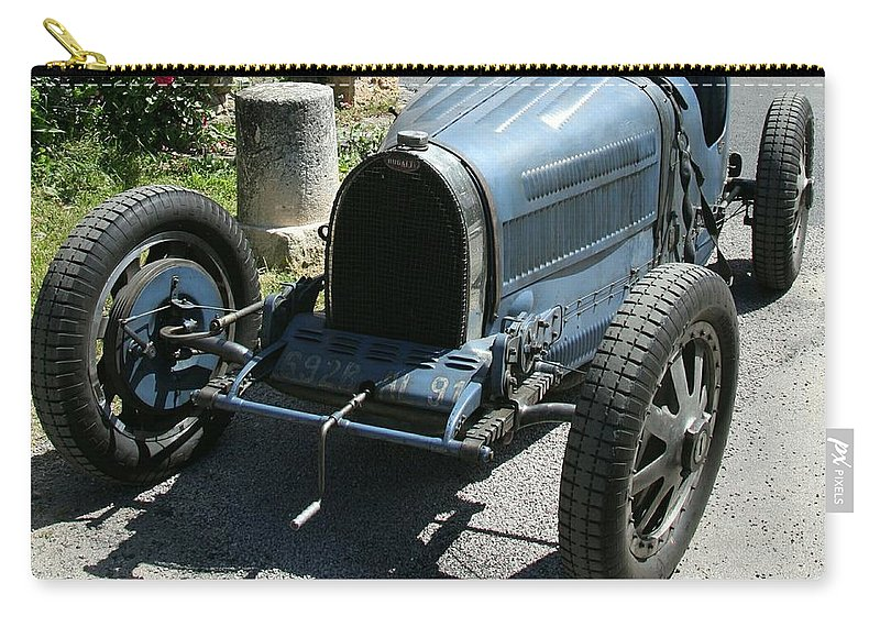 Oldtimer Carry-all Pouch featuring the photograph Blue Bugatti Oldtimer by Christiane Schulze Art And Photography