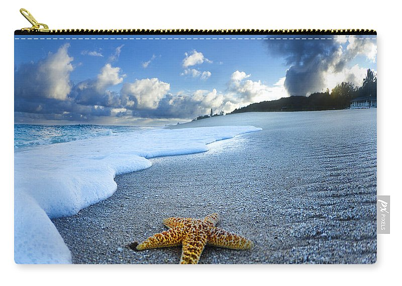 Surreal Carry-all Pouch featuring the photograph Blue Foam Starfish by Sean Davey
