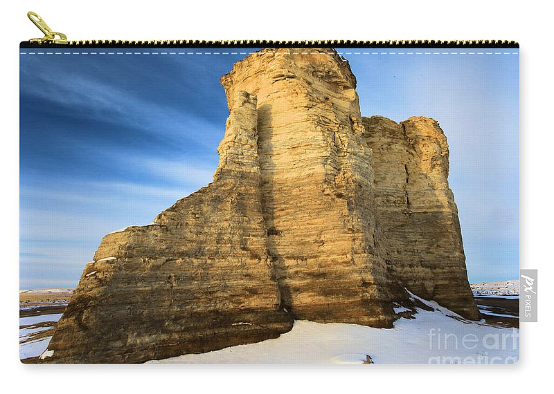 Monument Rocks Carry-all Pouch featuring the photograph Blue Skies At Monument Rocks by Adam Jewell