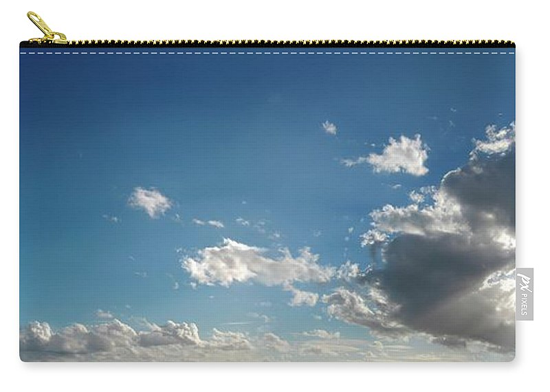 Panoramic Carry-all Pouch featuring the digital art Blue Sky With Cumulus Clouds, Artwork by Leonello Calvetti